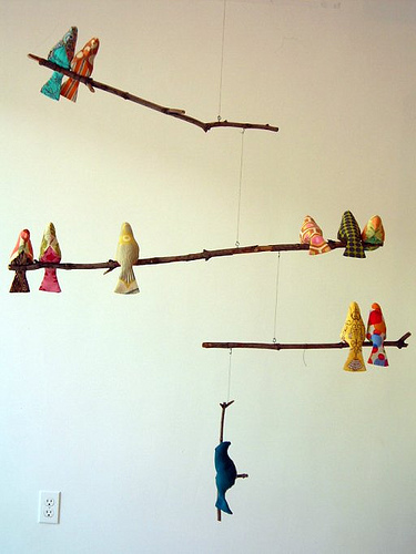Fabric bird mobile